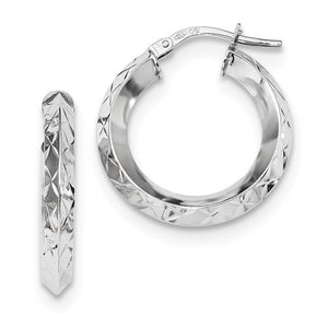 14k White Gold Classic Diamond Cut Round Hoop Earrings GU0917W - BringJoyCollection
