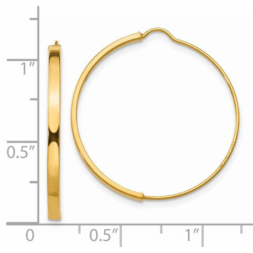14k Yellow Gold Modern Minimalist Wire Hoop Earrings 25mm x 1.75mm - BringJoyCollection