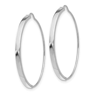 14k White Gold Modern Minimalist Wire Hoop Earrings 25mm x 1.75mm - BringJoyCollection