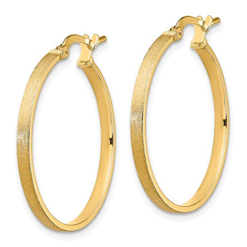 14k Yellow Gold Brushed Round Square Tube Hoop Earrings 24mm x 2mm