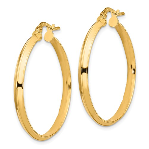 14k Yellow Gold Round Knife Edge Hoop Earrings 31mm x 3mm
