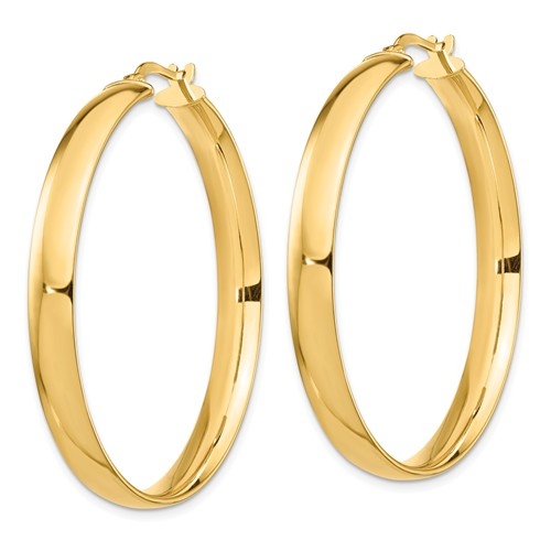 14k Yellow Gold Round Square Tube Hoop Earrings 40mm x 5mm