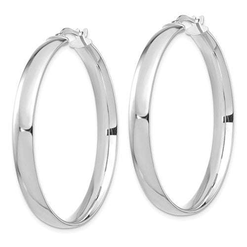 14k White Gold Round Square Tube Hoop Earrings 40mm x 5mm