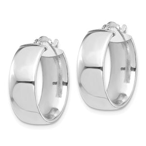 14k White Gold Round Square Tube Hoop Earrings 18mm x 7mm