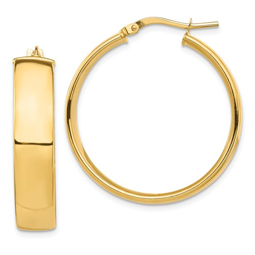 14k Yellow Gold Round Square Tube Hoop Earrings 30mm x 7mm