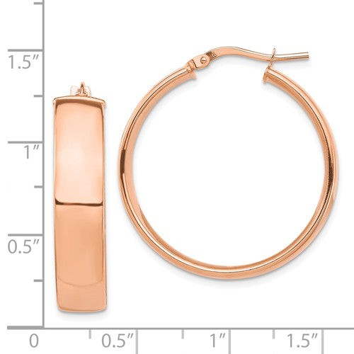 14k Rose Gold Round Square Tube Hoop Earrings 30mm x 7mm