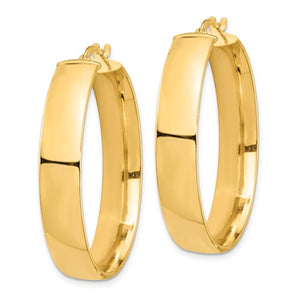 14k Yellow Gold Round Square Tube Hoop Earrings 35mm x 7mm