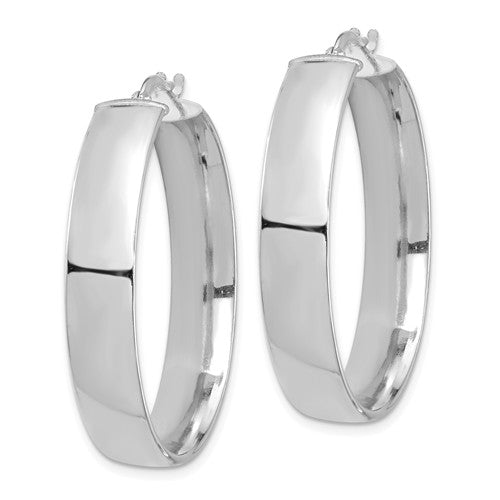14k White Gold Round Square Tube Hoop Earrings 35mm x 7mm