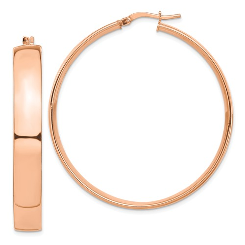 14k Rose Gold Round Square Tube Hoop Earrings 44mm x 7mm