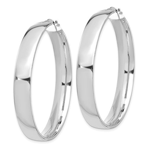 14k White Gold Round Square Tube Hoop Earrings 44mm x 7mm