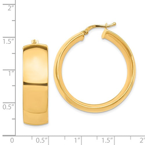 14k Yellow Gold Round Square Tube Hoop Earrings 30mm x 10mm