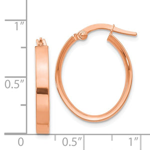 14k Rose Gold Square Tube Oval Hoop Earrings 22mm x 17mm x 3mm