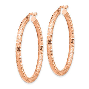 14k Rose Gold Diamond Cut Round Hoop Earrings 37mmx 3mm