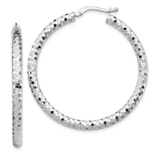 14k White Gold Diamond Cut Round Hoop Earrings 37mm x 3mm