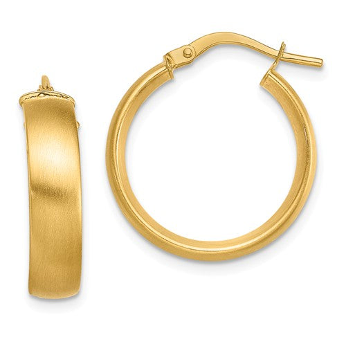 14k Yellow Gold Round Square Tube Satin Hoop Earrings 19mm x 5mm