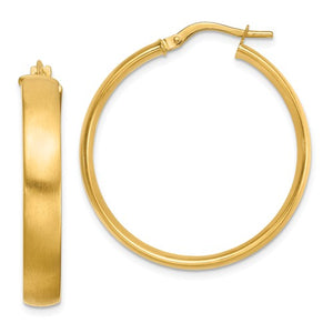 14k Yellow Gold Square Tube Satin Hoop Earrings 30mm x 5mm