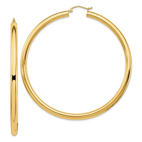 14k Yellow Gold Classic Round Large Hoop Earrings 68mm x 4mm Lightweight