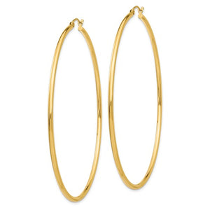 14k Yellow Gold Classic Round Hoop Earrings Lightweight 70mm x 2mm
