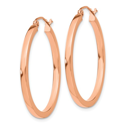 14K Rose Gold Classic Square Tube Round Hoop Earrings 30mm x 2mm
