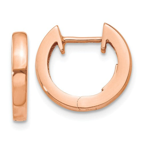 14k Rose Gold Classic Huggie Hinged Hoop Earrings 12mm x 12mm x 2mm