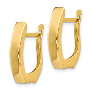 14k Yellow Gold Classic Huggie Hinged Hoop Earrings 19mm x 12mm x 4mm