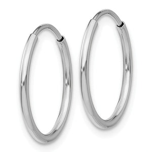 14k White Gold Classic Round Endless Hoop Earrings 23mm x 1.20mm - BringJoyCollection