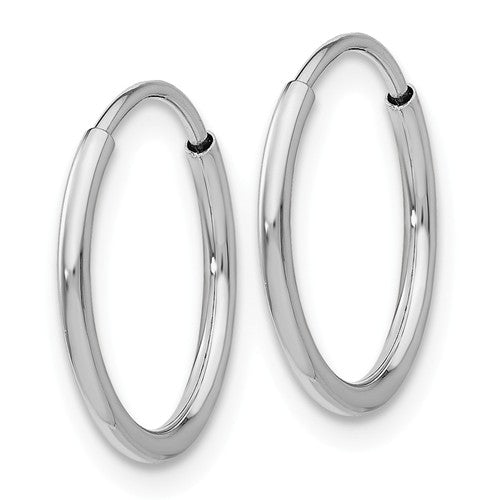 14k White Gold Classic Round Endless Hoop Earrings 14mm x 1.20mm - BringJoyCollection
