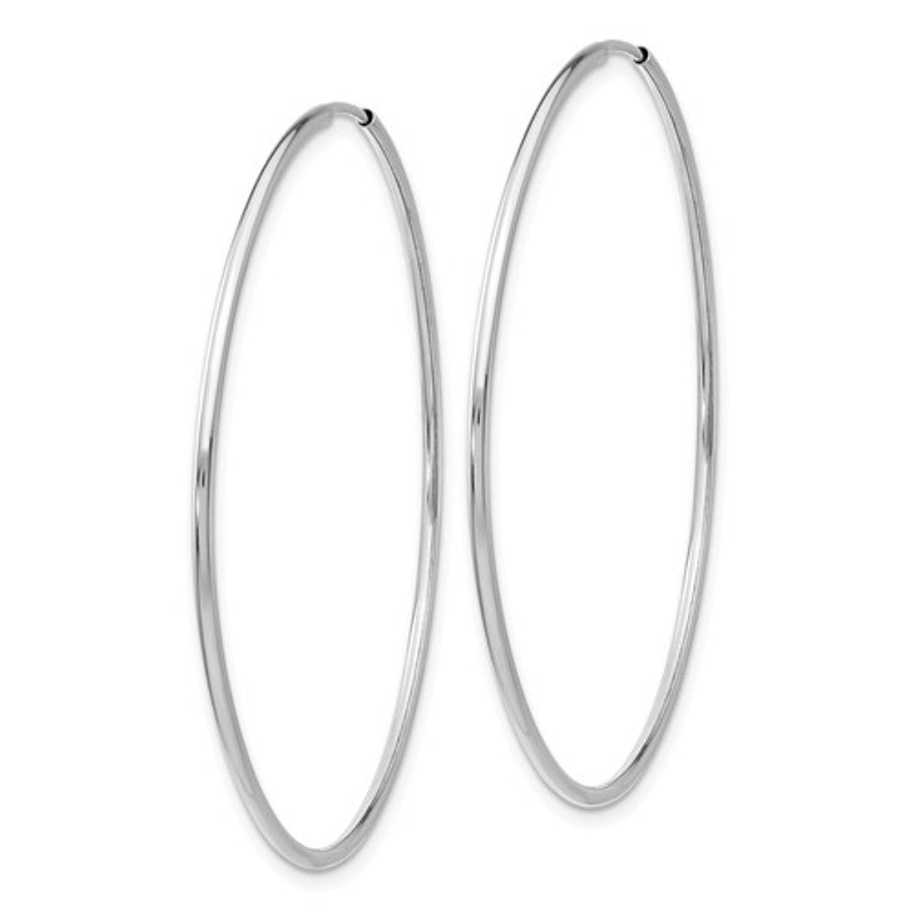14k White Gold Large Round Endless Hoop Earrings 45mm x 1.20mm