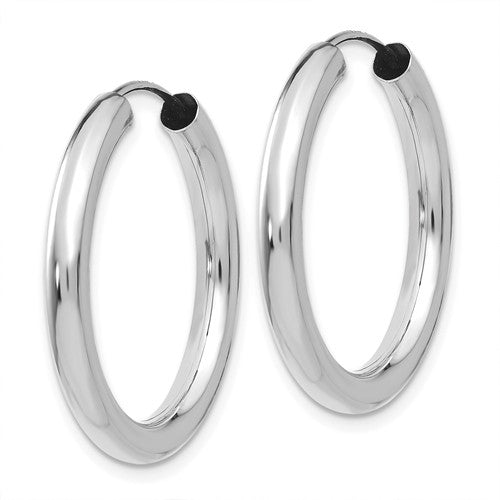 14k White Gold Classic Round Endless Hoop Earrings 35mm x 3mm