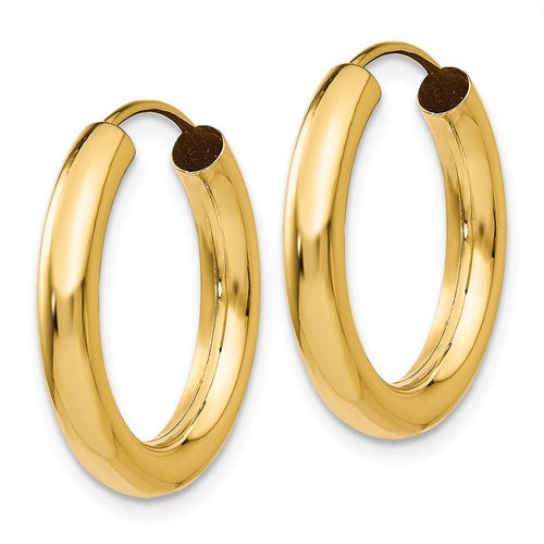 14k Yellow Gold Round Endless Hoop Earrings 20mm x 2.75mm