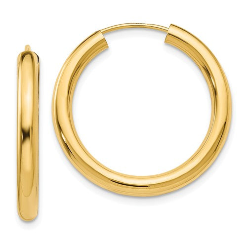 14k Yellow Gold Round Endless Hoop Earrings 25mm x 2.75mm