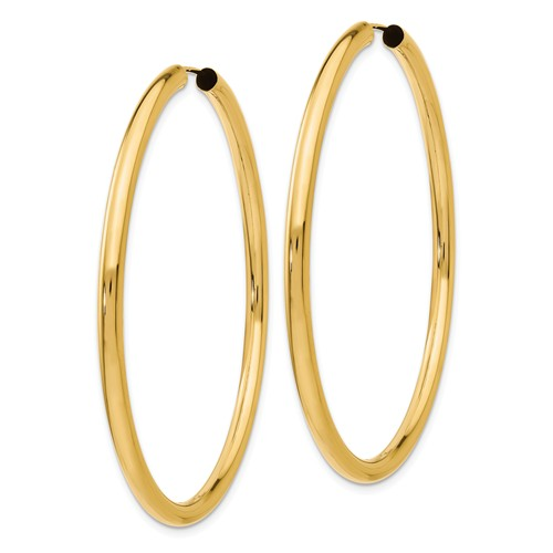 14k Yellow Gold Round Endless Hoop Earrings 55mm x 2.75mm