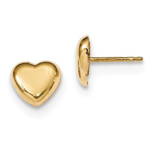 14k Yellow Gold Small Heart Stud Post Push Back Earrings