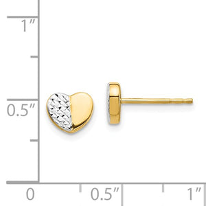 14k Yellow Gold and Rhodium Diamond Cut Heart Stud Post Push Back Earrings