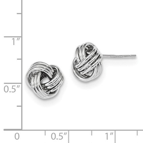 14k White Gold 10mm Classic Love Knot Earrings Post Stud Earrings - BringJoyCollection