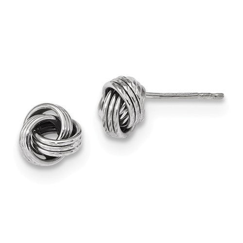 14k White Gold 8mm Love Knot Post Stud Earrings CKLTL1052W - BringJoyCollection