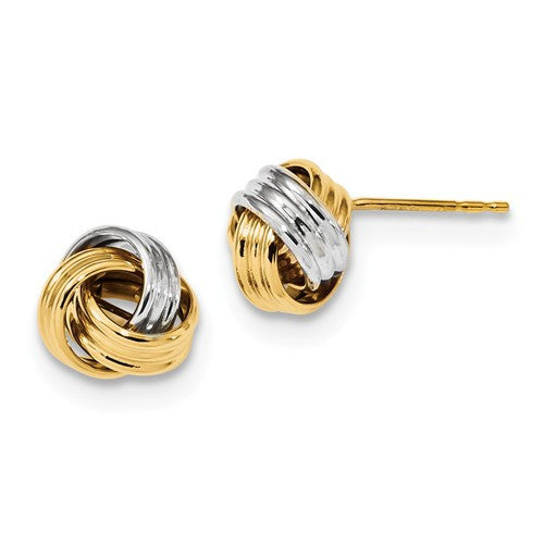 14k Gold Two Tone 10mm Love Knot Stud Earrings CKLTL1054TT - BringJoyCollection
