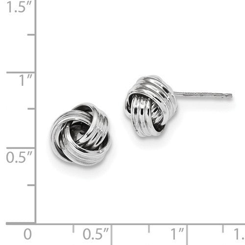14k White Gold 10mm Classic Love Knot Post Earrings CKLTL1054W - BringJoyCollection