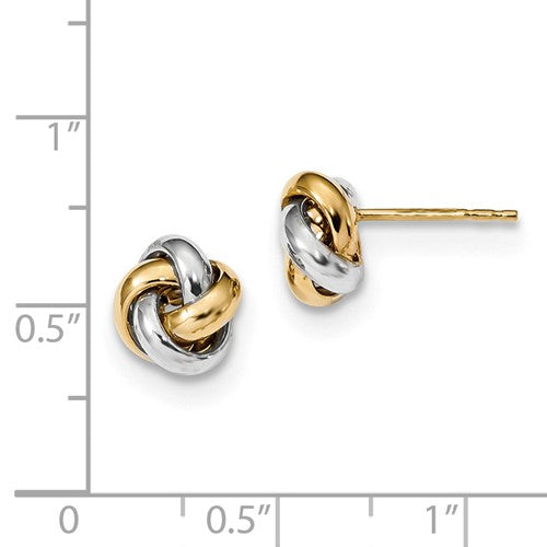 14k Gold Yellow White Gold Two Tone 8mm Love Knot Post Earrings