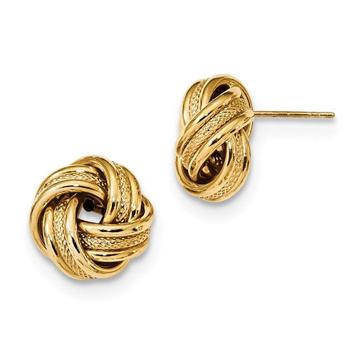 14k Yellow Gold 13mm Textured Love Knot Post Stud Earrings