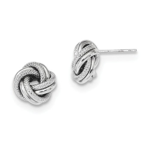 14K White Gold 9mm Classic Love Knot Earrings Post Stud Earrings