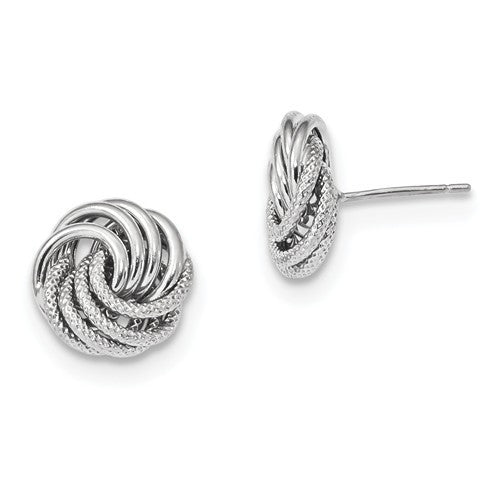 14k White Gold 11mm Love Knot Post Stud Earrings GO0133D - BringJoyCollection