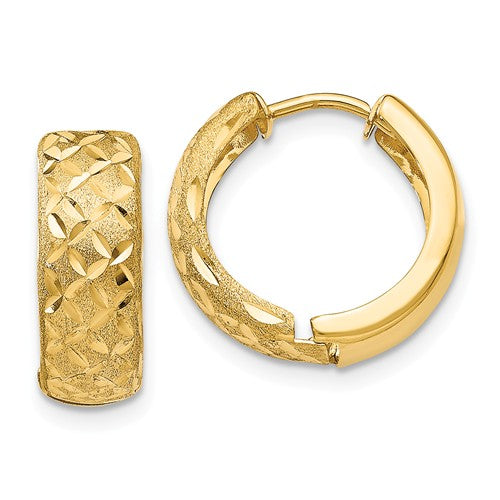 14k Yellow Gold Satin Textured Huggie Hinged Hoop Earrings 15mm x 15mm x 5mm