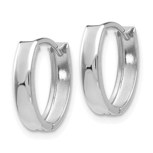 14k White Gold Small Dainty Huggie Hinged Hoop Earrings 10mm x 2mm