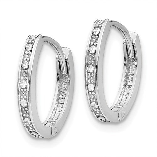 14k White Gold Diamond Cut Small Dainty Huggie Hinged Hoop Earrings 13mm x 1mm