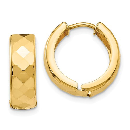 14k Yellow Gold Textured Huggie Hinged Hoop Earrings 14mm x 5mm