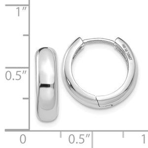 14k White Gold Classic Huggie Hinged Hoop Earrings 15mm x 15mm x 4mm