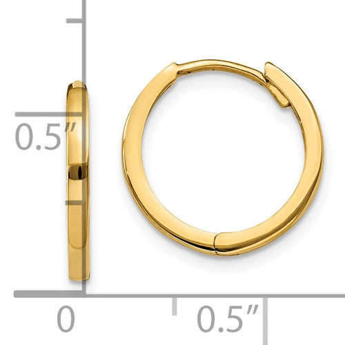 14k Yellow Gold Classic Huggie Hinged Hoop Earrings 11mm x 1mm