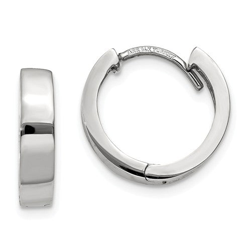 14k White Gold Classic Huggie Hinged Hoop Earrings 12mm x 12mm x 3mm