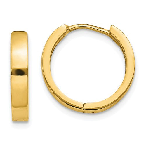 14k Yellow Gold Classic Huggie Hinged Hoop Earrings 14mm x 14mm x 3mm